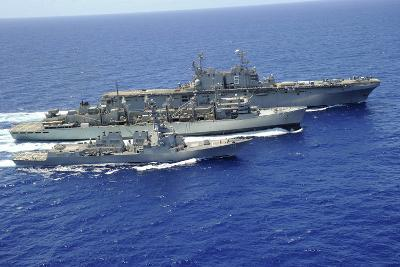 Uss Peleliu and USS Spruance Conduct a Replenishment at Sea with Usns Rainier--Photographic Print
