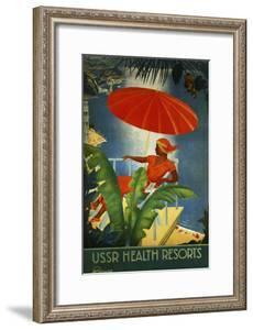 Ussr Health Resorts Intourist Travel Poster
