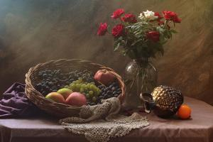 Still Life With Fruit and Roses by Ustinagreen