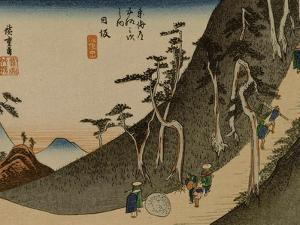 A Steep Road in the Mountains Near Nissaka by Utagawa Hiroshige