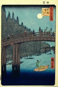 Bamboo Quay by Kyobashi Bridge. (One Hundred Famous Views of Ed), C. 1858 by Utagawa Hiroshige