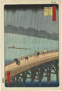 Distant View of Atake in Evening Shower over the Ohashi Bridge, September 1857 by Utagawa Hiroshige