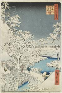 Drum Bridge and Sunset Hill at Meguro, April 1856 by Utagawa Hiroshige