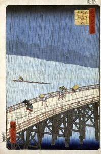 Evening Shower at Atake and the Great Bridge, 1856-1858 by Utagawa Hiroshige