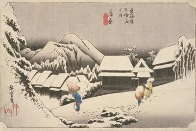 Evening Snow at Kambara by Utagawa Hiroshige