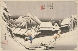 Evening Snow at Kambara by Utagawa Hiroshige