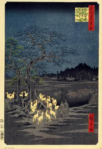 Foxes Meeting at Oji by Utagawa Hiroshige
