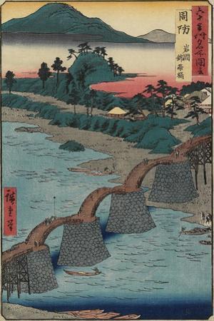 Kintai Bridge at Iwakuni, Suo_Province, December 1853 by Utagawa Hiroshige