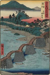 Kintai Bridge at Iwakuni, Suo_Province, December 1853 by Utagawa Hiroshige
