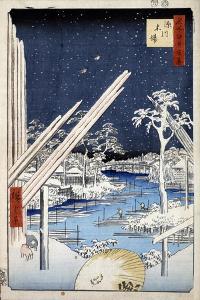 Lumberyards at Fukagawa (One Hundred Famous Views of Ed), 1856-1858 by Utagawa Hiroshige