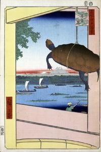 Mannen Bridge and the Fukagawa District (One Hundred Famous Views of Ed), 1856-1858 by Utagawa Hiroshige