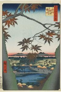 Maple Trees at Mama with View of Tekona Shrine and Bridge, January 1857 by Utagawa Hiroshige