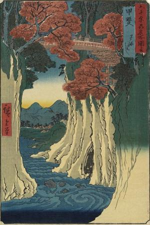Monkey Bridge, Kai Province, August 1853 by Utagawa Hiroshige