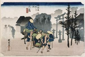 Morning Mist at Mishima', from the Series 'The Fifty-Three Stations of the Tokaido', C.1834 by Utagawa Hiroshige
