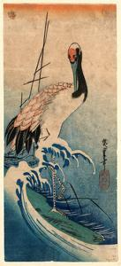 Nami Ni Tsuru, Crane in Waves. [Between 1833 and 1835], 1 Print : Woodcut, Color ; 37.4 X 16.5 by Utagawa Hiroshige
