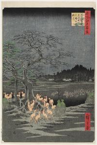 New Year's Eve Foxfires at Nettle Tree, Oji, September 1857 by Utagawa Hiroshige