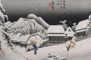 Night Snow, Kambara', from the Series 'The Fifty-Three Stations of the Tokaido' by Utagawa Hiroshige