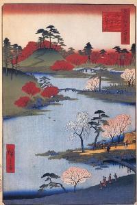 Open Garden at the Hachiman Shrine in Fukagawa. (One Hundred Famous Views of Ed), C. 1858 by Utagawa Hiroshige