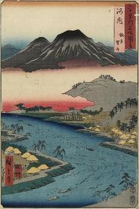 Otoko-Yama Mountain Seen from Hirakata, Kawachi Province, July 1853 by Utagawa Hiroshige