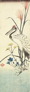 (Pampas Grass, Patrinia, Chinese Bellflower and a Crane), 1830-1858 by Utagawa Hiroshige