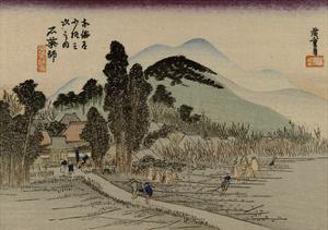 Reizgers Walk Towards a Temple Hidden Behind Trees by Utagawa Hiroshige
