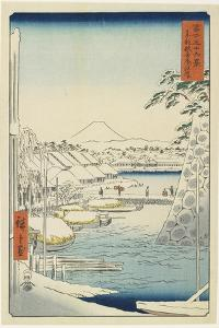 Riverbank of Sukiya in the Eastern Capital, April 1858 by Utagawa Hiroshige