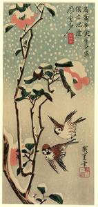 Secchu Tsubaki Ni Suzume by Utagawa Hiroshige