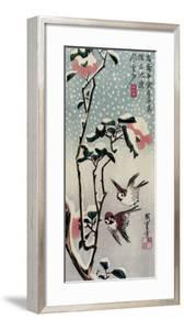Sparrows and Camellias in the Snow, 1830s by Utagawa Hiroshige