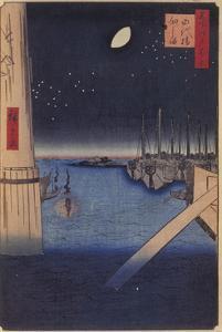Tsukudajima and Eitai Bridge (One Hundred Famous Views of Ed), 1856-1858 by Utagawa Hiroshige