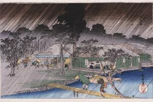 Twilight Shower at Tadasu Bank' by Utagawa Hiroshige