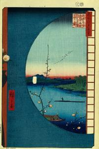 View from Massaki on the Grove Near Suijin Shrine, the Uchigawa Inlet and Sekiya Village by Utagawa Hiroshige