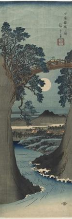 View of the Monkey Bridge in Koshu Province, 1841-1842 by Utagawa Hiroshige