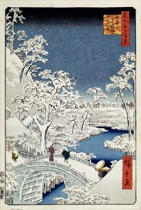 Yuhi Hill and the Drum Bridge at Meguro (One Hundred Famous Views of Ed), 1856-1858 by Utagawa Hiroshige