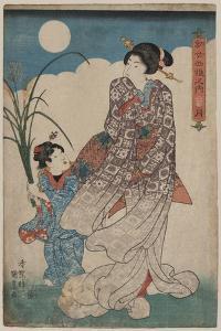 Full Moon over Woman and a Young Girl by Utagawa Kunisada