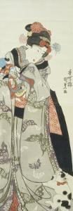 Girl Playing with Doll and a Cat by Utagawa Kunisada