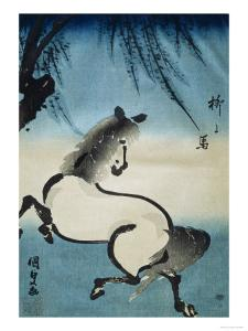 Horse Galloping under Willow Tree by Utagawa Kunisada