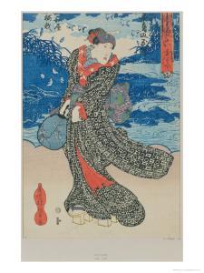 Japanese Woman by the Sea by Utagawa Kunisada