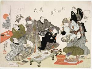 P.61-1938 Painting and Calligraphy Party at the Manpachiro Teahouse by Utagawa Kunisada