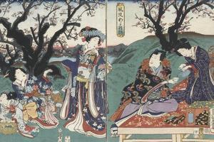 Quartier des maisons de plaisir à l'aube by Utagawa Kunisada