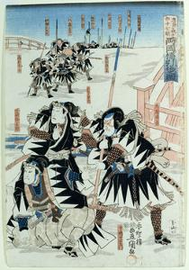 Scene from Act Xi of 'Chiushingura Or, the Loyal League: a Japanese Romance', by Monzayemon… by Utagawa Kunisada