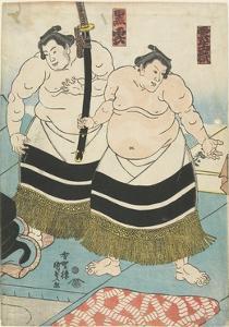 The Wrestlers Unjodake and Kurokumo, 1843-1847 by Utagawa Kunisada