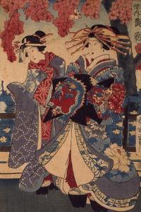 Two Women in a Flower Garden, by Utagawa Kunisada by Utagawa Kunisada