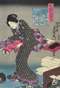 Woman Showing Fabric Samples by Utagawa Kunisada
