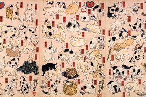 Cats. from the Series Fifty-Three Stations of the Tokaido (Triptyc), Ca 1848 by Utagawa Kuniyoshi