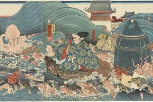 Dragon God Rewarding Hidesato with Three Gifts, April 1858 by Utagawa Kuniyoshi