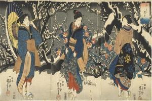 Plum Blossoms in the Evening Snow, 1847-1852 by Utagawa Kuniyoshi