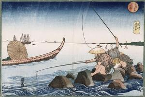 Three Anglers Fishing at Teppozu', from the Series 'Famous Places of the Eastern Capital' by Utagawa Kuniyoshi