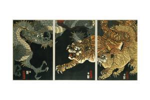 A Dragon and Two Tigers by Utagawa Sadahide