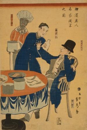 Banquet at a foreign mercantile house in Yokohama, 1861 by Utagawa Sadahide