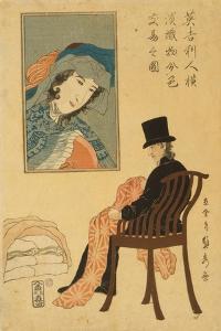 English Merchant Sorting Fabrics For Trade in Yokohama, 1861 by Utagawa Sadahide